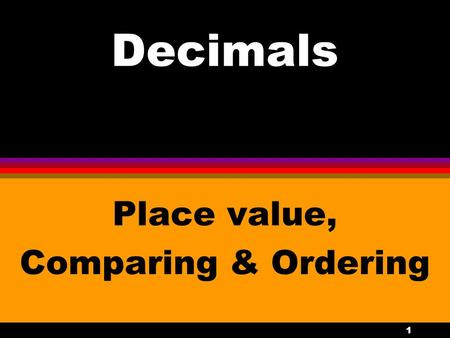 Place value, Comparing & Ordering