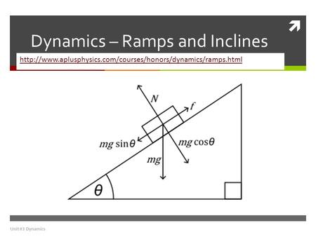 Dynamics – Ramps and Inclines
