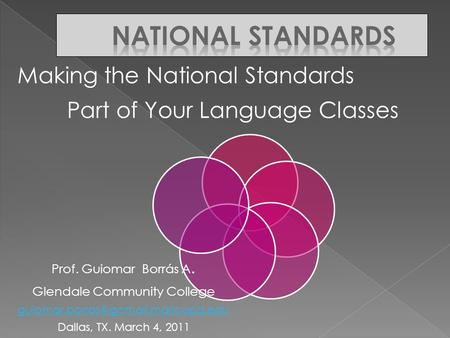 Making the National Standards Part of Your Language Classes Prof. Guiomar Borrás A. Glendale Community College Dallas,
