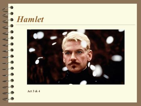 Hamlet Act 3 & 4. Act 3 - Recap 4 Hamlet and Ophelia confrontation. –Hamlet's bitter words are directed, not against Ophelia, but against women in general.