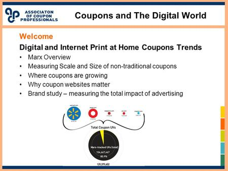 Coupons and The Digital World Welcome Digital and Internet Print at Home Coupons Trends Marx Overview Measuring Scale and Size of non-traditional coupons.