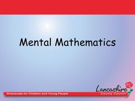Mental Mathematics.
