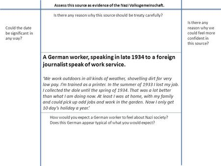 A German worker, speaking in late 1934 to a foreign journalist speak of work service. 'We work outdoors in all kinds of weather, shovelling dirt for very.