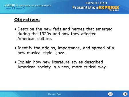 Objectives Describe the new fads and heroes that emerged during the 1920s and how they affected American culture. Identify the origins, importance, and.