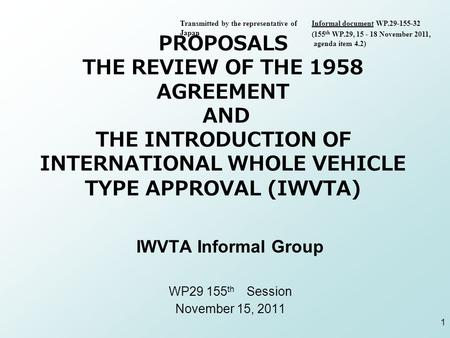 PROPOSALS THE REVIEW OF THE 1958 AGREEMENT AND THE INTRODUCTION OF INTERNATIONAL WHOLE VEHICLE TYPE APPROVAL (IWVTA) IWVTA Informal Group WP29 155 th Session.