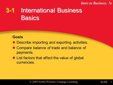 Intro to Business, 7e © 2009 South-Western, Cengage Learning SLIDE1 International Business Basics Goals Describe importing and exporting activities. Compare.