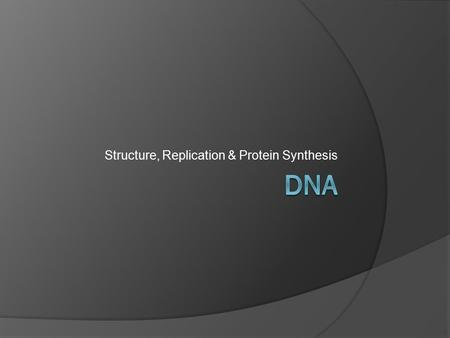 Structure, Replication & Protein Synthesis. DNA  DNA (deoxyribonucleic acid) is the hereditary material for all living things.  contains the codes for.