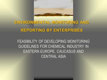 ENVIRONMENTAL MONITORING AND REPORTING BY ENTERPRISES FEASIBILITY OF DEVELOPING MONITORING GUIDELINES FOR CHEMICAL INDUSTRY IN EASTERN EUROPE, CAUCASUS.
