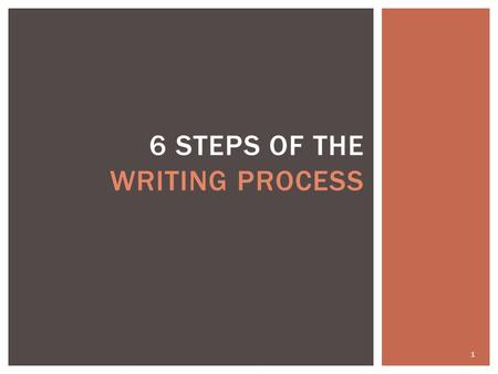 6 Steps of the Writing Process