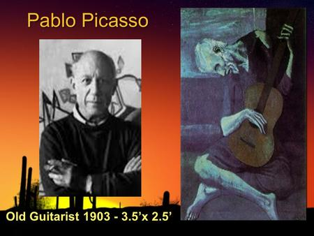 Pablo Picasso Old Guitarist 1903 - 3.5'x 2.5'. Picasso at work.