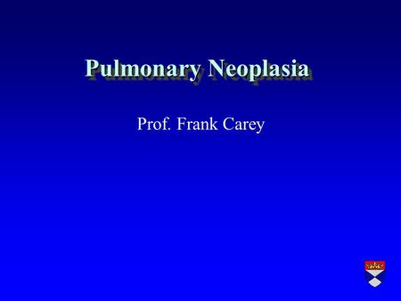 Pulmonary Neoplasia Prof. Frank Carey. Lung Neoplasms r Primary l benign (rare) l malignant (very common) r Metastatic (Very common)
