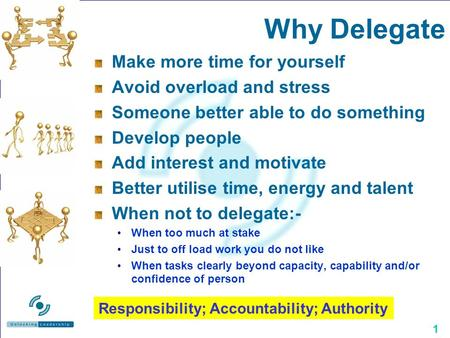 1 Why Delegate Make more time for yourself Avoid overload and stress Someone better able to do something Develop people Add interest and motivate Better.