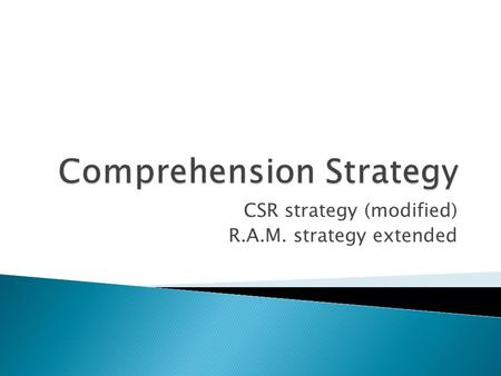 CSR strategy (modified) R.A.M. strategy extended.