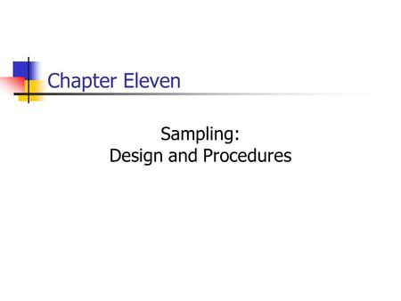 Sampling: Design and Procedures