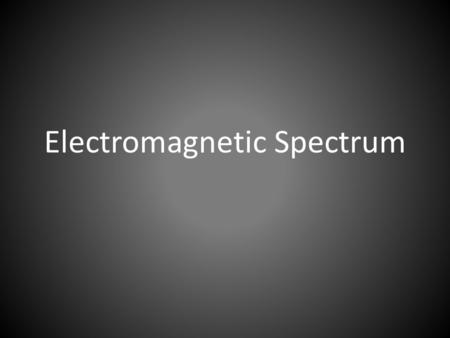 Electromagnetic Spectrum. Different forms of radiation arranged in order according to their wavelength. – Travels through space at 300,000 km/s or 186,000.