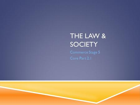 THE LAW & SOCIETY Commerce Stage 5 Core Part 2.1.