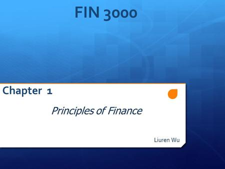 FIN 3000 Chapter 1 Principles of Finance Liuren Wu FIN3000, Liurn Wu.