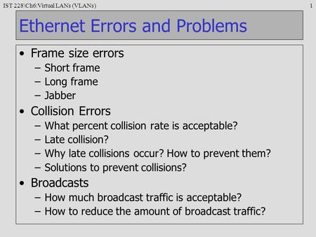 Ethernet Errors and Problems
