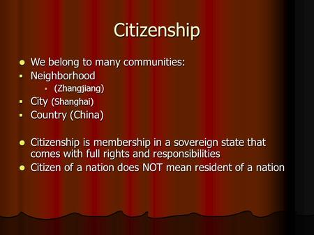 Citizenship We belong to many communities: We belong to many communities:  Neighborhood  (Zhangjiang)  City (Shanghai)  Country (China) Citizenship.