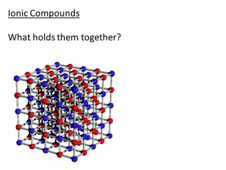 Ionic Compounds What holds them together?.