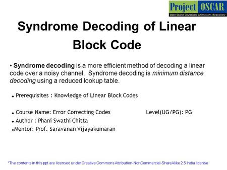 Syndrome Decoding of Linear Block Code