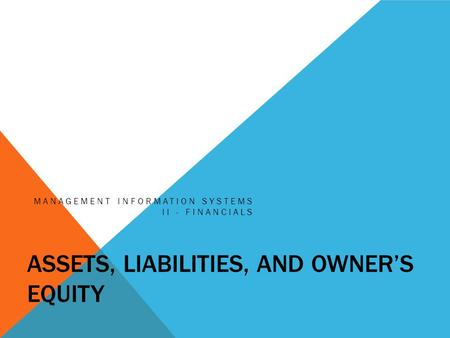 ASSETS, LIABILITIES, AND OWNER'S EQUITY MANAGEMENT INFORMATION SYSTEMS II - FINANCIALS.