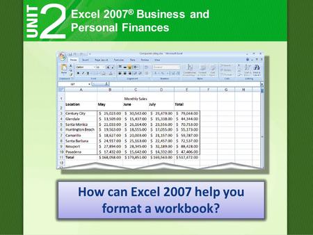 Excel 2007 ® Business and Personal Finances How can Excel 2007 help you format a workbook?