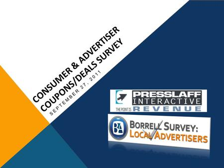 CONSUMER & ADVERTISER COUPONS/DEALS SURVEY SEPTEMBER 27, 2011.