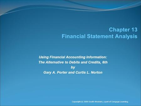 Chapter 13 Financial Statement Analysis