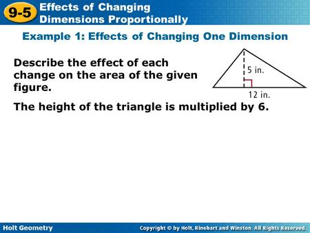 Example 1: Effects of Changing One Dimension