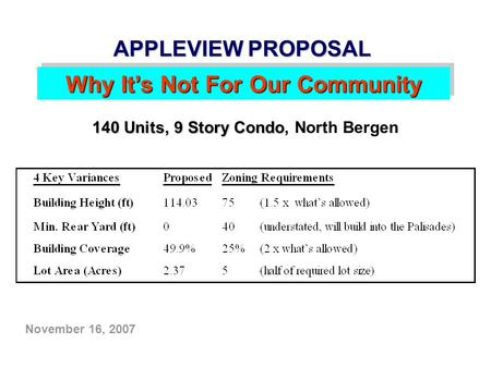 November 16, 2007 APPLEVIEW PROPOSAL Why It's Not For Our Community 140 Units, 9 Story Condo 140 Units, 9 Story Condo, North Bergen.