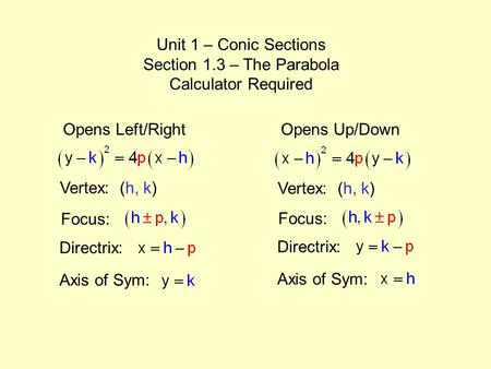 113 Parabolas Objectives Define A Parabola Ppt Download