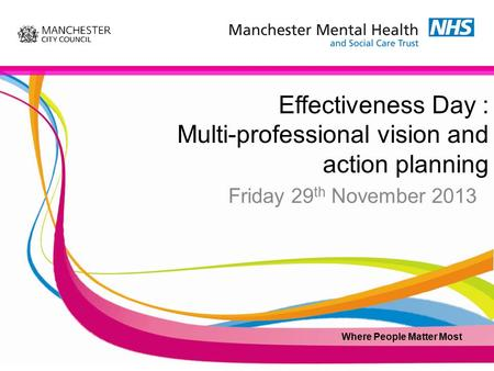Effectiveness Day : Multi-professional vision and action planning Friday 29 th November 2013 Where People Matter Most.
