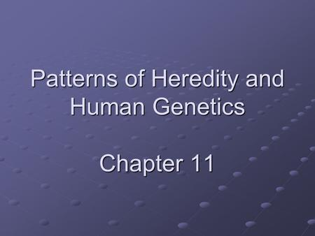 Patterns of Heredity and Human Genetics Chapter 11.
