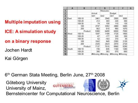 Multiple imputation using ICE: A simulation study on a binary response Jochen Hardt Kai Görgen 6 th German Stata Meeting, Berlin June, 27 th 2008 Göteborg.