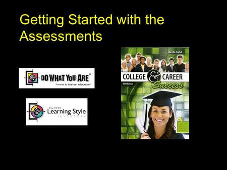 Getting Started with the Assessments. The Assessments n Part I: Personality Assessment Do What You Are (DWYA) n Part II: Learning Style Assessment.
