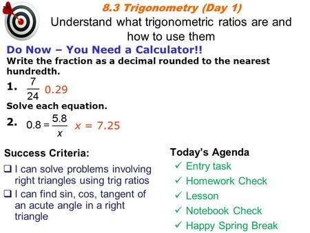 Topic 1 Pythagorean Theorem and SOH CAH TOA Unit 3 Topic ppt
