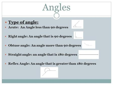 Angles Type of angle: Acute: An Angle less than 90 degrees Right angle: An angle that is 90 degrees Obtuse angle: An angle more than 90 degrees Straight.