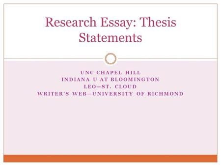 UNC CHAPEL HILL INDIANA U AT BLOOMINGTON LEO—ST. CLOUD WRITER'S WEB—UNIVERSITY OF RICHMOND Research Essay: Thesis Statements.