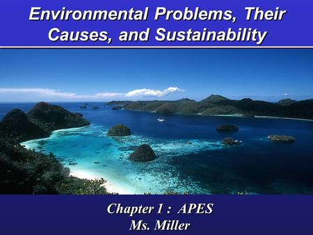 Environmental Problems, Their Causes, and Sustainability