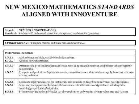 NEW MEXICO MATHEMATICS STANDARDS ALIGNED WITH INNOVENTURE 5.N.3.1Add, subtract, multiply, and divide whole numbers. 5.N.3.2Add and subtract decimals. 6.N.3.3Determine.