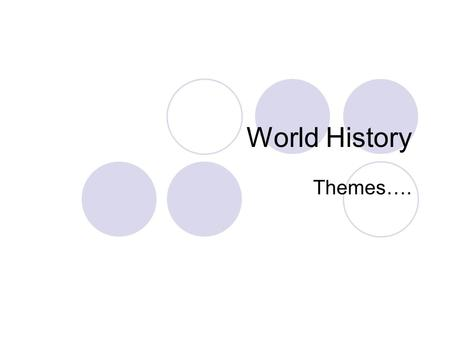 World History Themes….. World HistoryThemes 2009-20102 World History Themes Themes help us to better focus on the key features of each society and event.