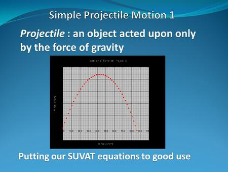 Projectile : an object acted upon only by the force of gravity Putting our SUVAT equations to good use.