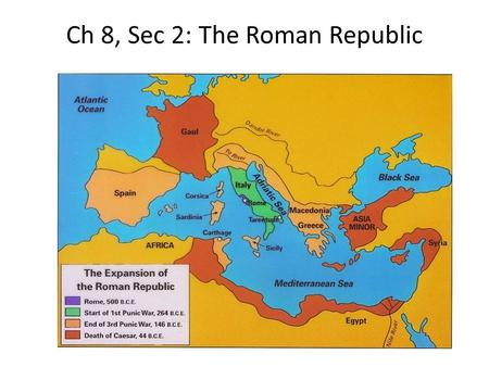 Ch 8, Sec 2: The Roman Republic. Social Groups Patricians-rich, elite landowners of Rome who ran the gov't Plebeians-artisans, shopkeepers, and owners.