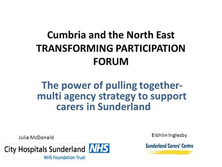 Cumbria and the North East TRANSFORMING PARTICIPATION FORUM The power of pulling together- multi agency strategy to support carers in Sunderland Julie.