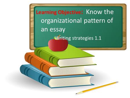 Learning Objective : Know the organizational pattern of an essay Writing strategies 1.1.