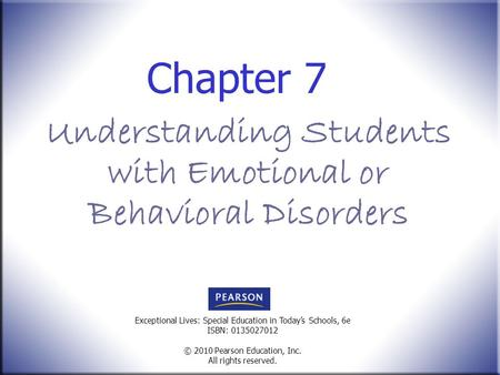 Understanding Students with Emotional or Behavioral Disorders