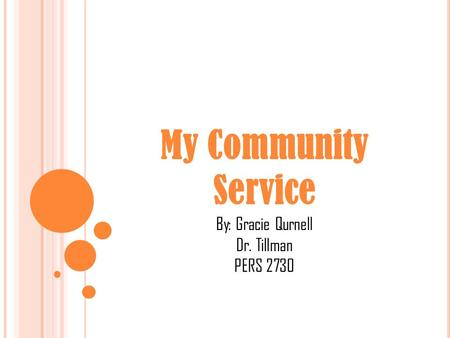 My Community Service By: Gracie Qurnell Dr. Tillman PERS 2730.