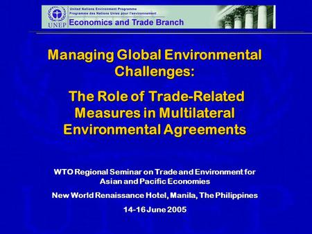 Managing Global Environmental Challenges: The Role of Trade-Related Measures in Multilateral Environmental Agreements The Role of Trade-Related Measures.