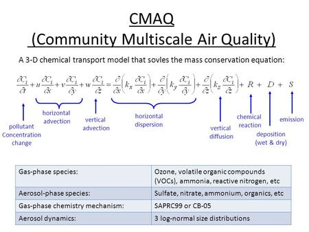 CMAQ (Community Multiscale Air Quality) pollutant Concentration change horizontal advection vertical advection horizontal dispersion vertical diffusion.